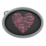 I Love You Typography Heart Valentine's Day Gift Oval Belt Buckles