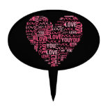 I Love You Typography Heart Valentine's Day Gift Cake Picks