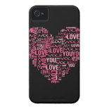 I Love You Typography Heart Valentine's Day Gift iPhone 4 Cases