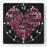 I Love You Typography Heart Valentine's Day Gift Square Wall Clock