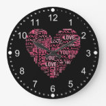 I Love You Typography Heart Valentine's Day Gift Wall Clock