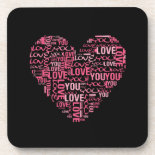 I Love You Typography Heart Valentine's Day Gift Beverage Coasters