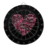 I Love You Typography Heart Valentine's Day Gift Dartboard With Darts