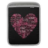 I Love You Typography Heart Valentine's Day Gift iPad Sleeve