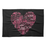 I Love You Typography Heart Valentine's Day Gift Hand Towels