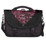 I Love You Typography Heart Valentine's Day Gift Laptop Computer Bag