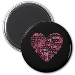 I Love You Typography Heart Valentine's Day Gift Magnets