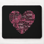 I Love You Typography Heart Valentine's Day Gift Mousepads