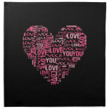 I Love You Typography Heart Valentine's Day Gift Napkin