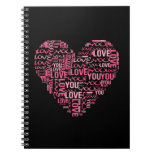 I Love You Typography Heart Valentine's Day Gift Spiral Notebooks