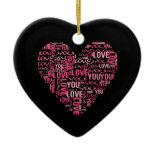 I Love You Typography Heart Valentine's Day Gift Christmas Ornament
