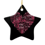 I Love You Typography Heart Valentine's Day Gift Christmas Tree Ornaments