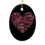 I Love You Typography Heart Valentine's Day Gift Christmas Ornaments