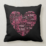 I Love You Typography Heart Valentine's Day Gift Pillow