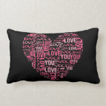 I Love You Typography Heart Valentine's Day Gift Throw Pillows
