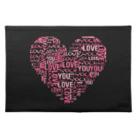 I Love You Typography Heart Valentine's Day Gift Place Mat