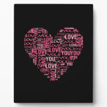 I Love You Typography Heart Valentine's Day Gift Display Plaque