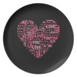 I Love You Typography Heart Valentine's Day Gift Dinner Plates