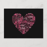 I Love You Typography Heart Valentine's Day Gift Postcards