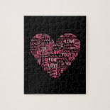 I Love You Typography Heart Valentine's Day Gift Jigsaw Puzzle