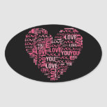 I Love You Typography Heart Valentine's Day Gift Stickers