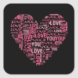 I Love You Typography Heart Valentine's Day Gift Square Sticker