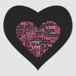 I Love You Typography Heart Valentine's Day Gift Heart Stickers