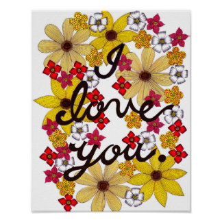 I Love You Typography With Yellow Flowers Poster