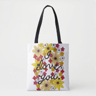 I Love You Typography With Yellow Flowers Tote Bag