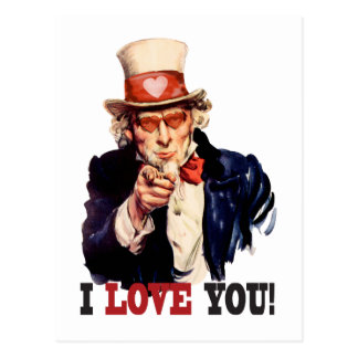 I Love You - Uncle Sam Style Valentine Postcard