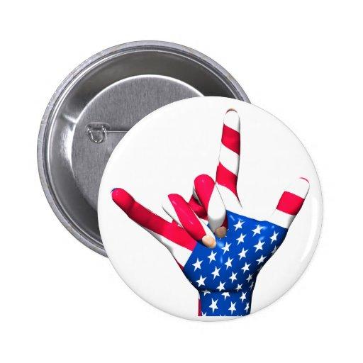 I Love You USA Flag Button