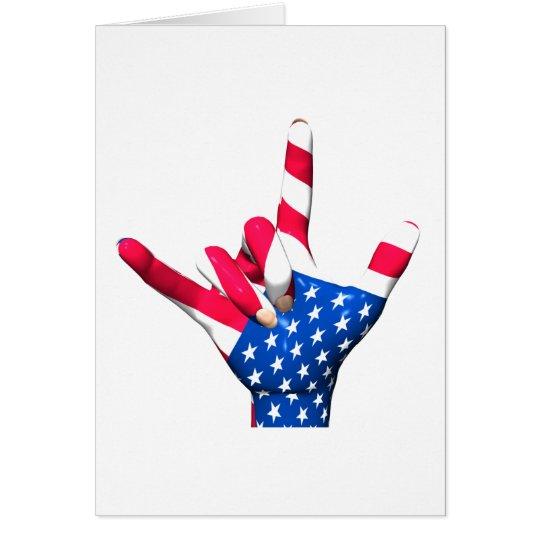I Love You USA Flag Card