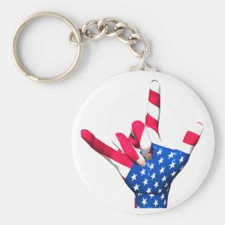 I Love You USA Flag Keychain