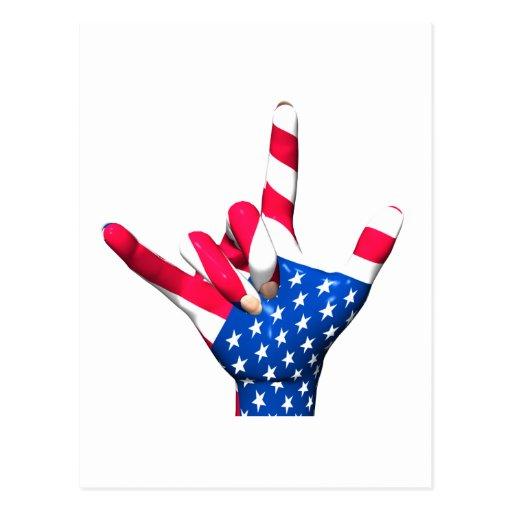 I Love You USA Flag Postcard