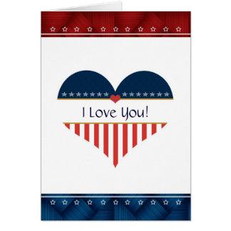 I Love You USA Patriotic Heart Blank Card