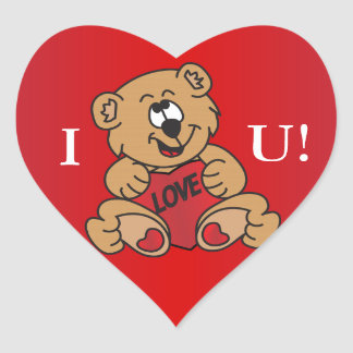 I Love You Valentine Bear Heart Stickers