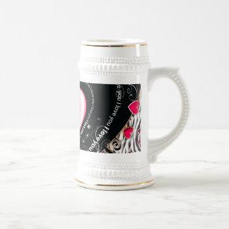 I Love You Valentine Hearts & Zebra Stripes Beer Stein