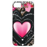 I Love You Valentine Hearts & Zebra Stripes iPhone 5 Case