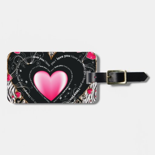 I Love You Valentine Hearts & Zebra Stripes Bag Tag