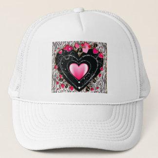 I Love You Valentine Hearts & Zebra Stripes Trucker Hat