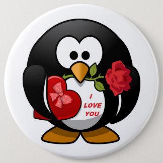 """I LOVE YOU"" VALENTINE PENGUIN PINBACK BUTTON"