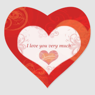 I Love You Very Much Heart-Shaped Sticker