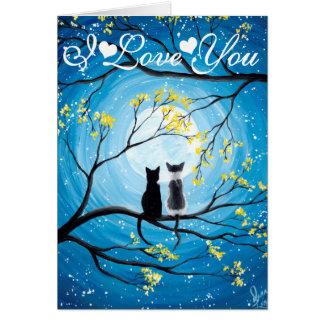 I Love You Whimsical Moon with Cats Card