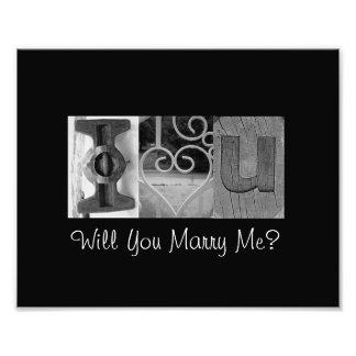 I Love You - Will You Marry Me? - Alphabet Art Photo Print