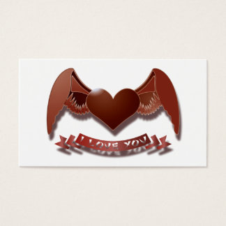 I love you winged heart business card