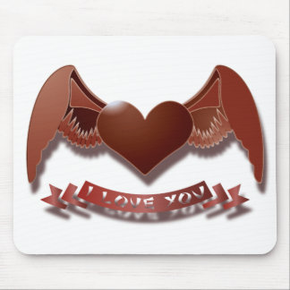 I love you winged heart mouse pad