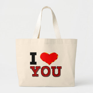 I Love You with 3D Heart Large Tote Bag