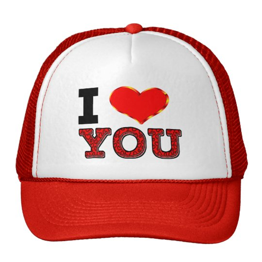 I Love You with 3D Heart Trucker Hat