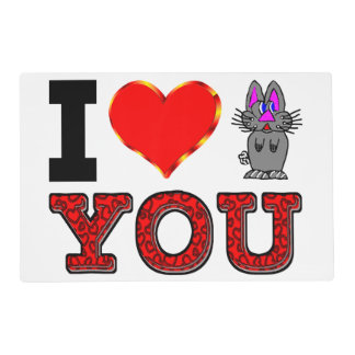 I Love You with Adorable Bunny Placemat