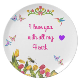 I love you with all my heart dinner plate